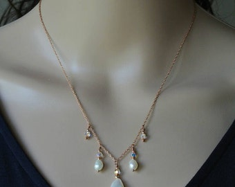Rose Gold Pearl Drop Necklace - Rose Gold Filled Chain Necklace with Ivory White Freshwater Pearl and Swarovski Crystal Drops