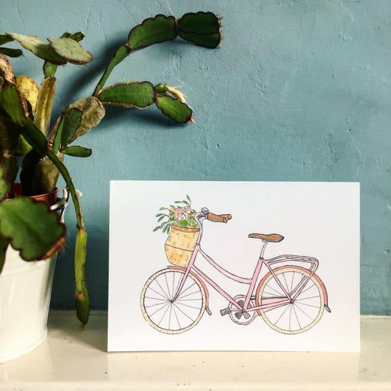 Vintage Pink Bicycle Card