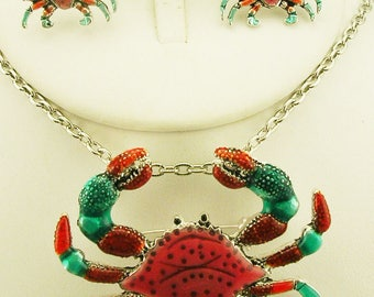 Joan Rivers CRAB SET -  Pin / Pendant and Earrings in Red and Green - S2275