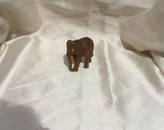 Vintage Retro 1960s Hand Carved Wooden Elephant Figurine Ornament
