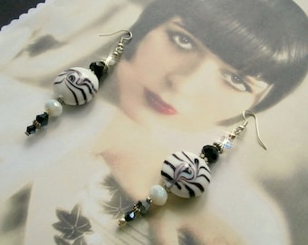 "Art Deco ""Netty"" earrings Lampwork, black and white for wedding, birthday, gift"