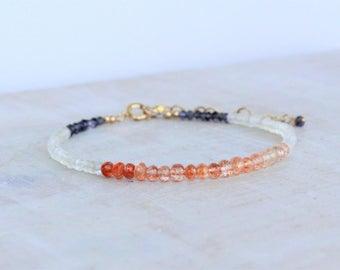 Sunstone, Rainbow Moonstone and Iolite Bracelet, Delicate Multi Gemstone Beaded Stacking Bracelet, Christmas Gift for her, Sunstone Jewelry