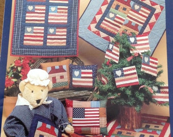 Little Quilts Freedom quilt collection, Hearts and Stripes Quilt, Homeland Quilt, Freedomville Quilt, House Flag Quilt, flag ornaments
