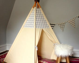 READY TO SHIP - Blue/White Plaid Teepee with poles (kids teepee, childrens teepee, tipi, playtent, wigwam, childrens decor)