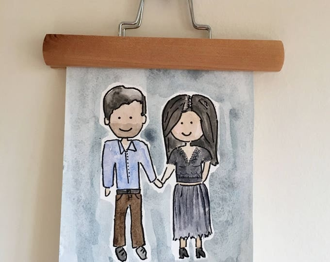 Custom Watercolor Couple- Blue Background Painted Housewarming Gift 8x10''