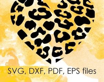 Leopard heart svg dxf pdf files, Valentine svg files for silhouette, svg files for cricut, Valentine Svg Cut File For Cricut, Heart file svg