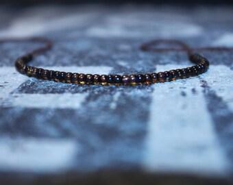 Cool Bracelet for men - Seed Bead Mens bracelet - Wish Bracelet - Brown String, Mens gift for him Husband Gift , Mens Seed Bead