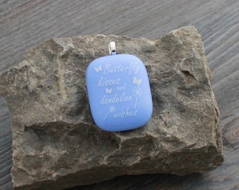 """Periwinkle Blue """"Butterfly Wishes & Dandelion Wishes"""" Fused Glass Pendant Necklace; Inspiration"""