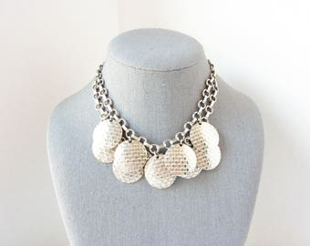Vintage Silver Bib Necklace with Retro Mid Century Silver Textured Circles from the 1950s
