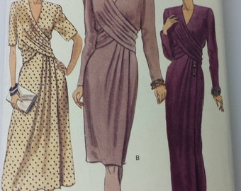Vogue Pattern 7939 Womens Dress Clothing Size (6-8-10) 1990 Wrap Drape