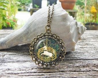 Unicorn Necklace, The Unicorn in Captivity Glass Dome Pendant Necklace