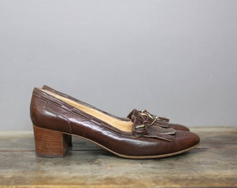 70s JULIANELLI OXFORD FRINGES brown leather heels size 9N