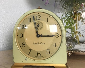 Vintage Smith Alarm British Mechanical Alarm Clock, Great Green Painted Metal, c. 1950's