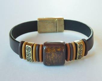 Brown Flat Leather Bracelet