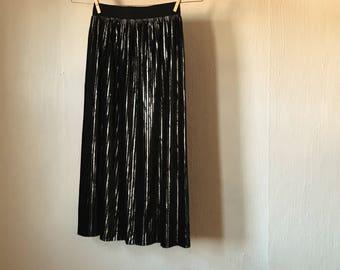 Holiday Black + Silver Accordion Skirt