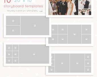 "Storyboard template 10x20, blog board template, 20x10 Storyboard Templates, Photography collage template, square album template 10"""