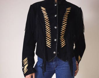 90s fringed and beaded suede black jacket