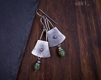 Turquoise Stone Earrings - Sterling Silver Earrings - 925 Earrings Handmade - Green Stone Earrings - Rustic Oxidized Silver Earrings - odki