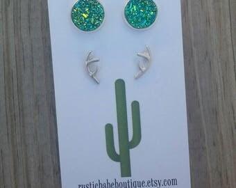 Druzy Stone Earrings, Antler Earrings, Crystal Jewel Stud Earrings