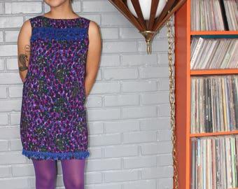 Vintage 1960's Purple polka dotted pom pom sleeveless mini dress