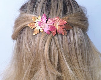 Hair Barrette Leaves, French Barrette