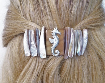 Hair Barrette with Seahorse on Natural Mother of Pearl Shells