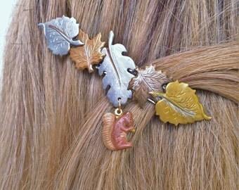 Leaf french hair barrette