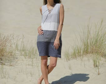 Linen tunic dress. Casual flax dress. Going out trapeze dress. Linen tank dress. Baltic linen sleeveless dress. Decorated leisure dress.