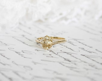 Fancy Golden Yellow Oval Cut Moissanite in Yellow Gold Solitaire Ring, Engagement Ring