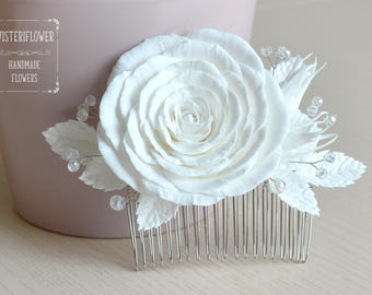 White rose White wedding hair comb Rose hair comb Flower comb Hair jewelry Classic Wedding accessories White hair piece Bridal hair comb