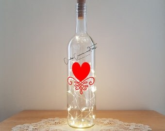 Lit Bottle Kit - Heart with a Flourish, Bottle Lamp, Wine Bottle Light, Bottle Light, Table Decor, Unusual Gift, Bottle, Craft Kit