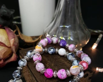 Pearl bracelet Silver & Agate - elastic bracelet - Pearl agate - Pink Purple yellow - white and grey - silver - Bell - Bohemian