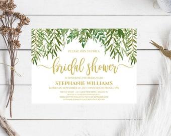 Rustic Bridal Shower Invitation, Greenery Wedding Printable , Botanical Bridal Shower, Gold Bridal Shower, PDF, JPEG, 5X7, #IDWS604_35C