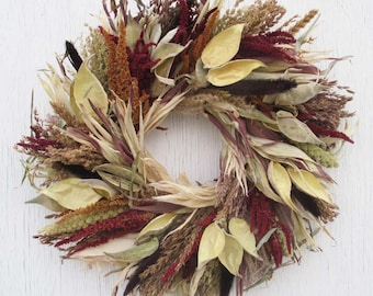 corn husk wreath with milkweed pods/dried flower wreath/dried flowers wreath/corn husk wreath/broom corn wreath/mixed grains wreath/wreath