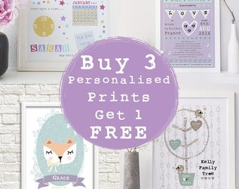 Buy 3 Get 1 FREE, PERSONALISED Prints, Baby Gift, Wedding Gift, Engagement Gift, Family Tree Print, Wedding Print, Baby Print, Nursery Decor