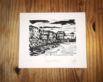 "Falmouth Harbour Lino Print 16.5""x11.5"" Home Decor, Wall Art"