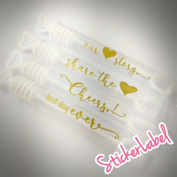 Wedding Bubble Labels Gold Foil Stickers Personalized Clear - Custom gold foil stickers