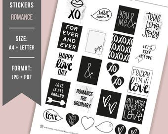 PRINTABLE planner stickers Valentines Day Printable Bullet Journal stickers BuJo stickers Printable hand lettered stickers Black & marble