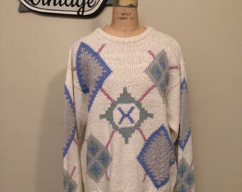 90's White Blue, Pink and Grey Colours by Alexander Julian Sweater Hand Intarisa   Size Large   Winter Sweater