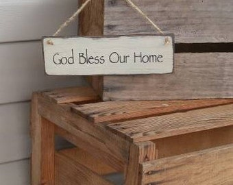 God Bless Our Home Sign, Wood Sign, Small sign, Spiritual Sign, Wreath Sign