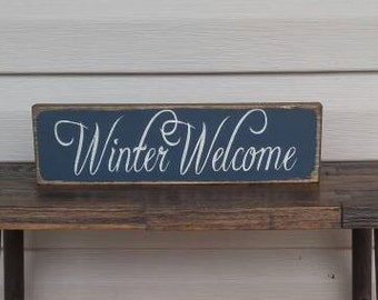 Winter Welcome Shelf Sitter, Winter sign, wood sign, shelf sitter, Winter decor, Seasonal decor, Christmas, Rustic, Farmhouse, Primitive