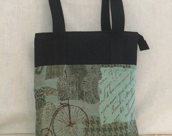 Large Shoulder Bag Tote Vacation Bicycles, Butterflies, Keys ,  Fan Letter to Diana Ross -  Turquoise n Green Tapestry with Black Denim Tote