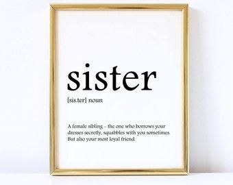 Sister definition print, Sister print, Sister decor, Sister gifts, Wall art printable