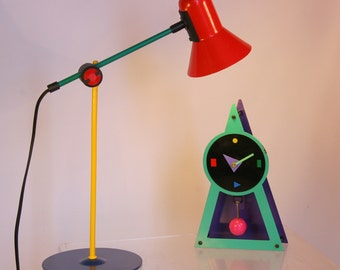 Memphis Design clock 1980s with pendulum / green purple black Sottsass inspired clock