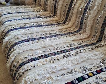 Handmade Berber - - wool and sequins - Handira wedding blanket
