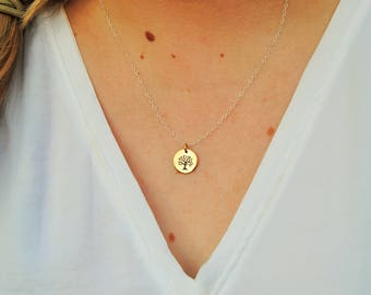 Bronze Tree of Life - Necklace | Sterling Silver Chain | High-Polished Finish | Two-Tone Necklace | Two-Tone Pendant