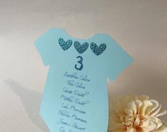 Baby Shower Seating Chart, Onesie Seating Chart Cards, Baby Shower Place Cards, Custom Baby Shower Place Cards, Onesie Place Cards, Custom