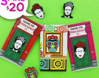 Frida Kahlo Enamel Pins Bundle - Frida Kahlo cejas - Frida Kahlo Portrait - Frida Kahlo Sugar Skull - Christmas Gifts