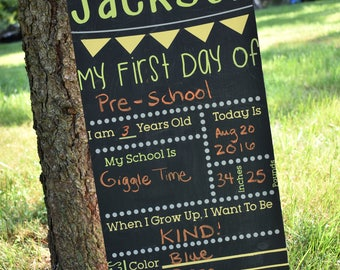 REUSABLE *Personalized* Back To School/First Day Chalkboard -  First Day of School Chalkboard Sign - Personalized Chalkboard Sign
