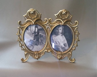 Art Nouveau, Twin Photo Frame, Solid Brass, with glass, with folding stand